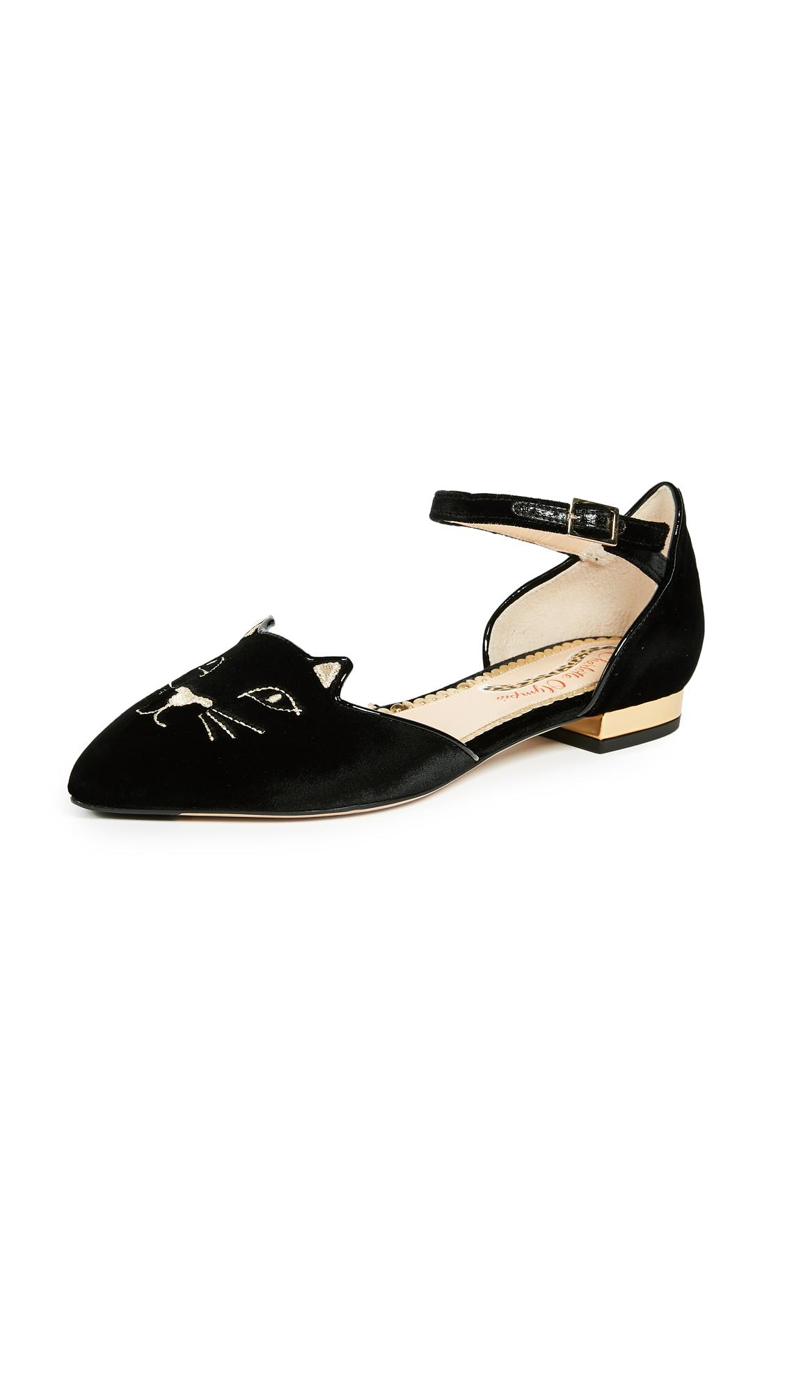 Charlotte Olympia Mid Century Kitty dOrsay Flats - Black/Gold