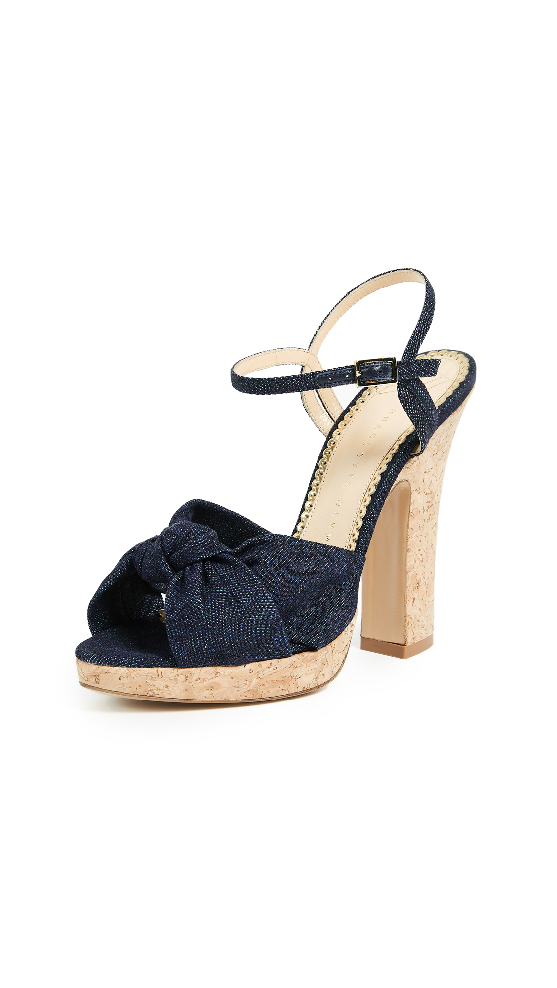 Charlotte Olympia Farrah Strappy Pumps - Dark Denim/Natural