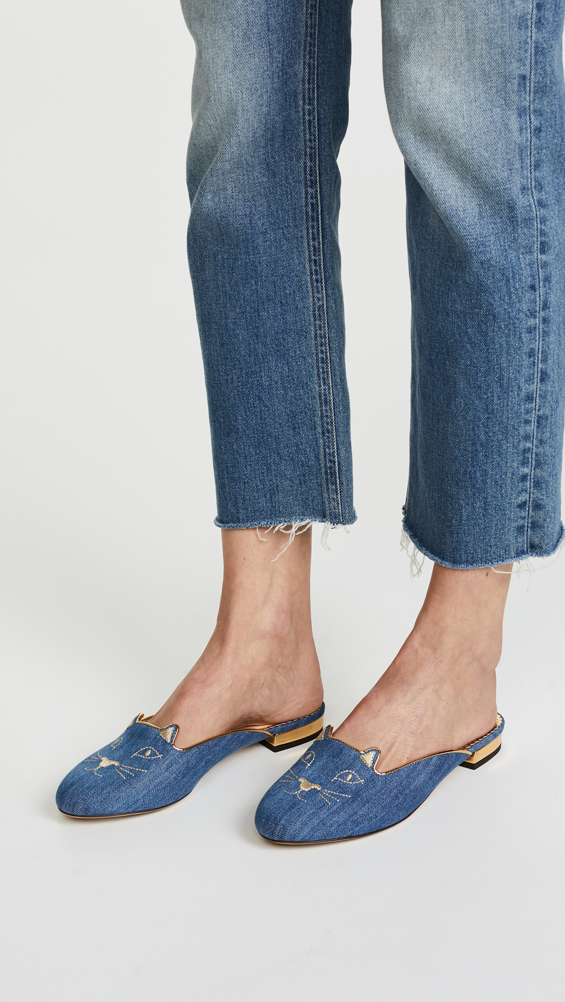 light denim Kitty slippers - Blue Charlotte Olympia o0s35q1gsN
