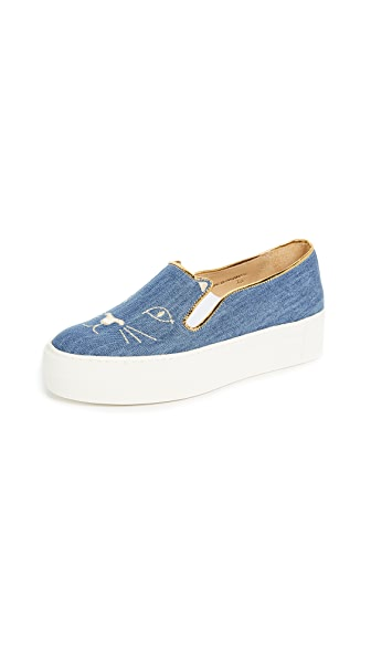 Charlotte Olympia Cool Cats Sneakers In Light Denim