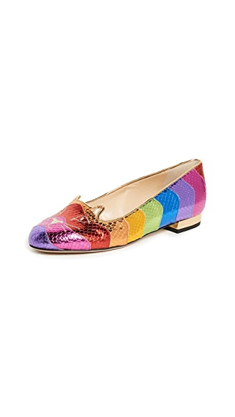 Charlotte Olympia Rainbow Kitty Flats In Multi