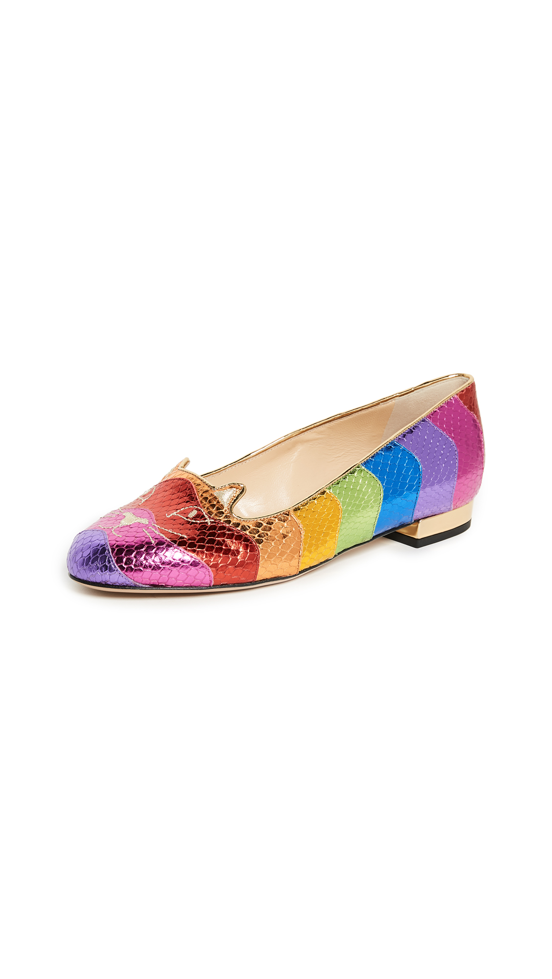 Charlotte Olympia Rainbow Kitty Flats - Multi