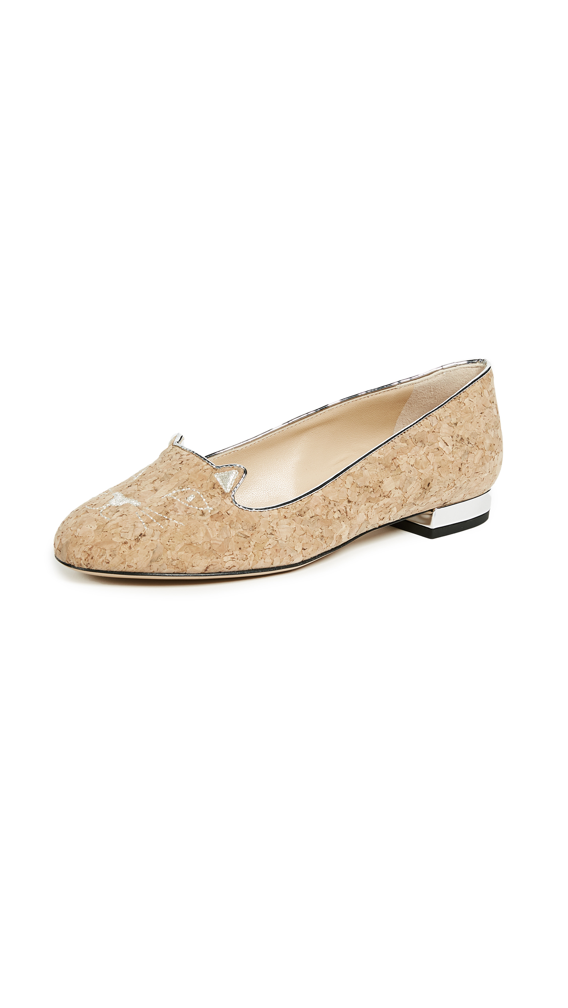 Charlotte Olympia Kitty Flats - Natural/Silver