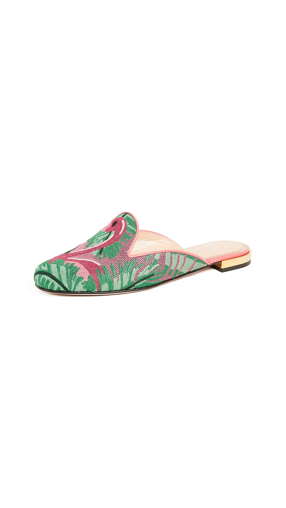 Charlotte Olympia Flamingo Slipper Mules - Multi