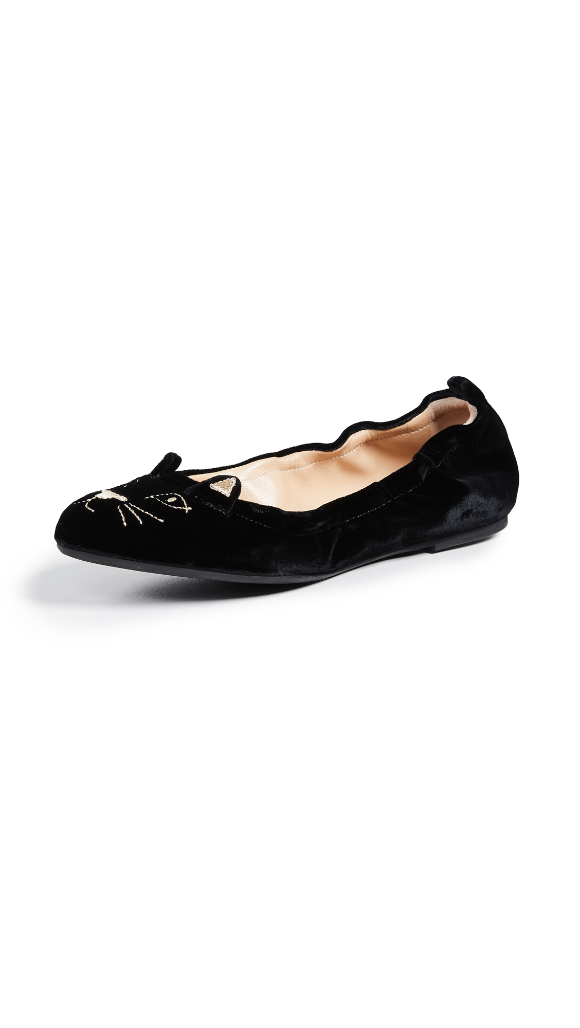 Charlotte Olympia Kitty Flats - Black