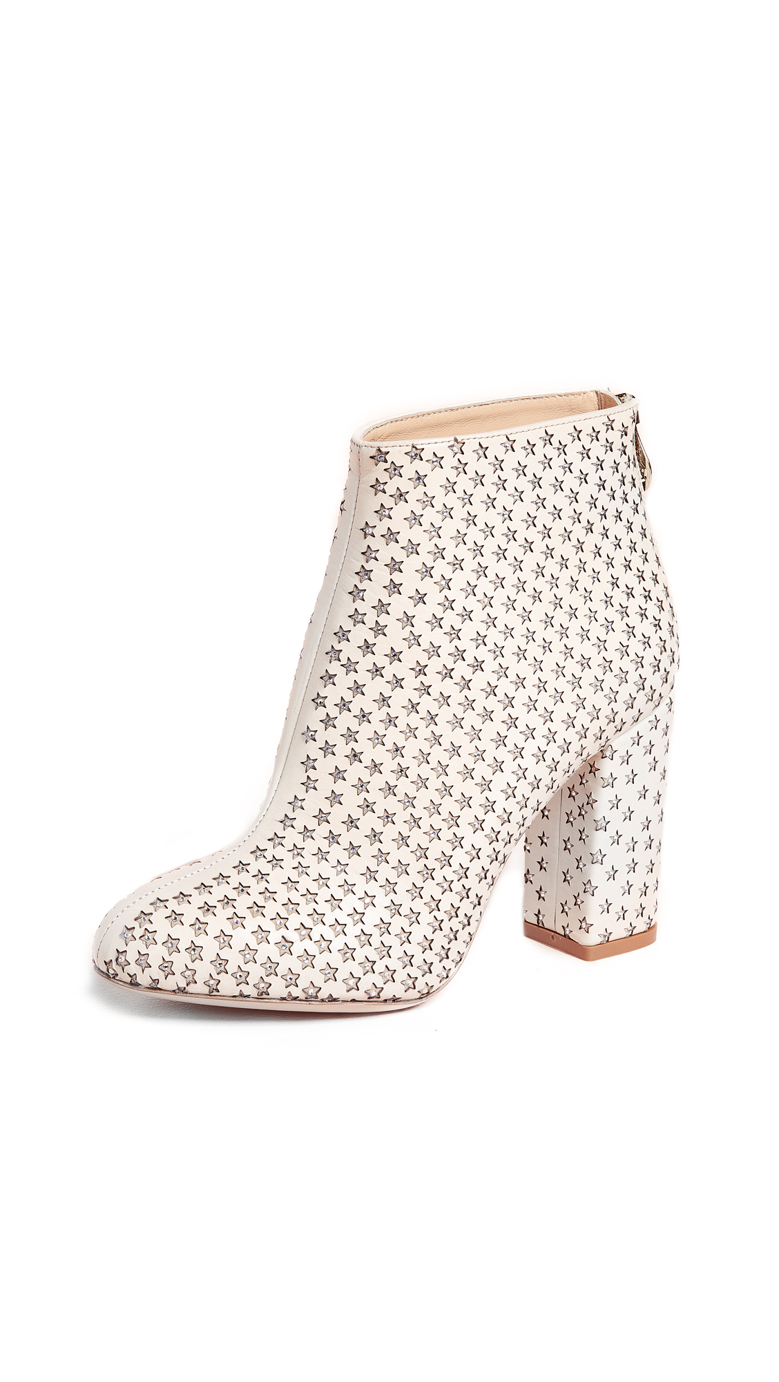 Charlotte Olympia Sparkling Star Booties - Antique White