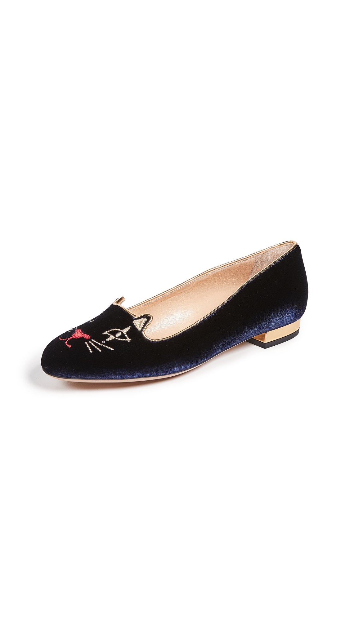Charlotte Olympia Kitty Flats - Midnight Blue