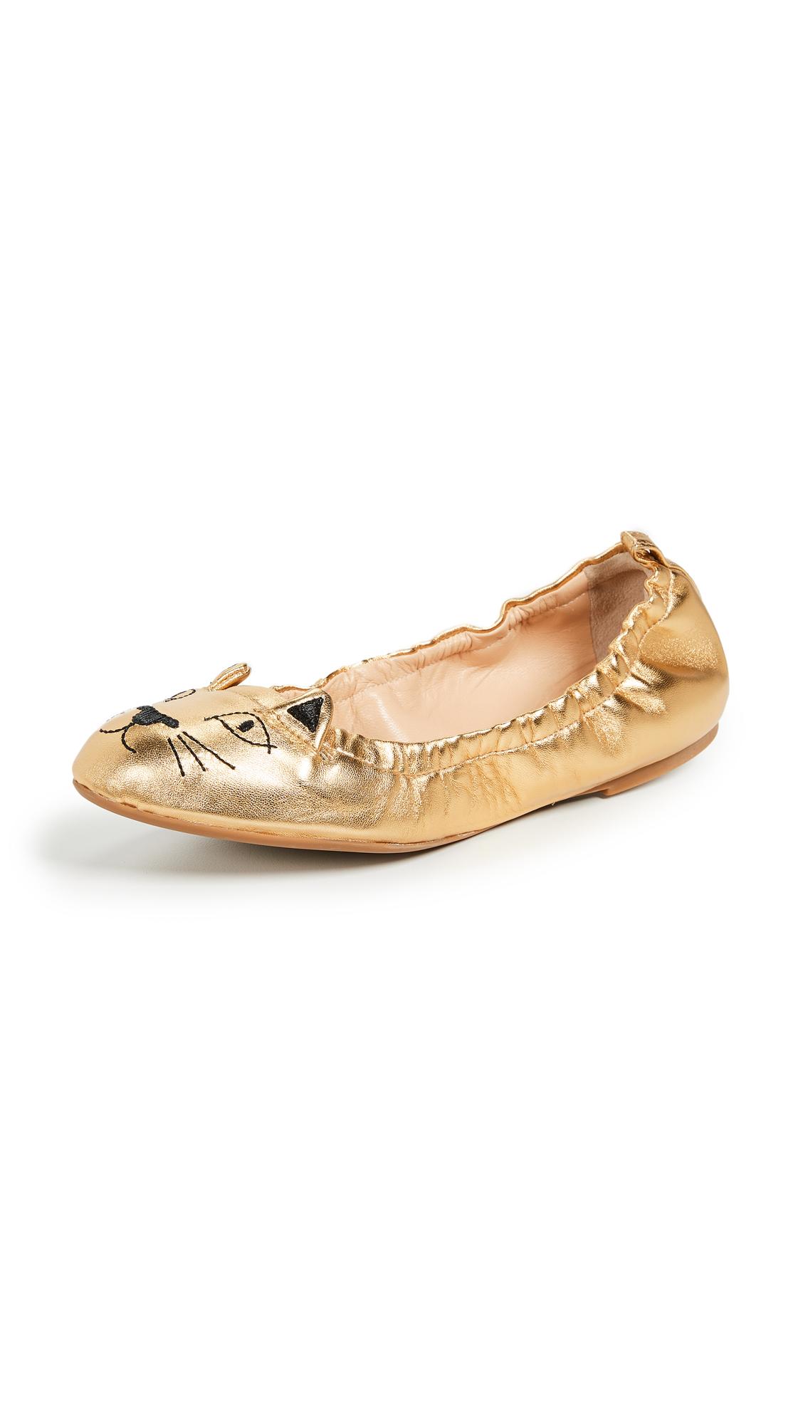 Charlotte Olympia Kitty Ballerina Flats - Gold