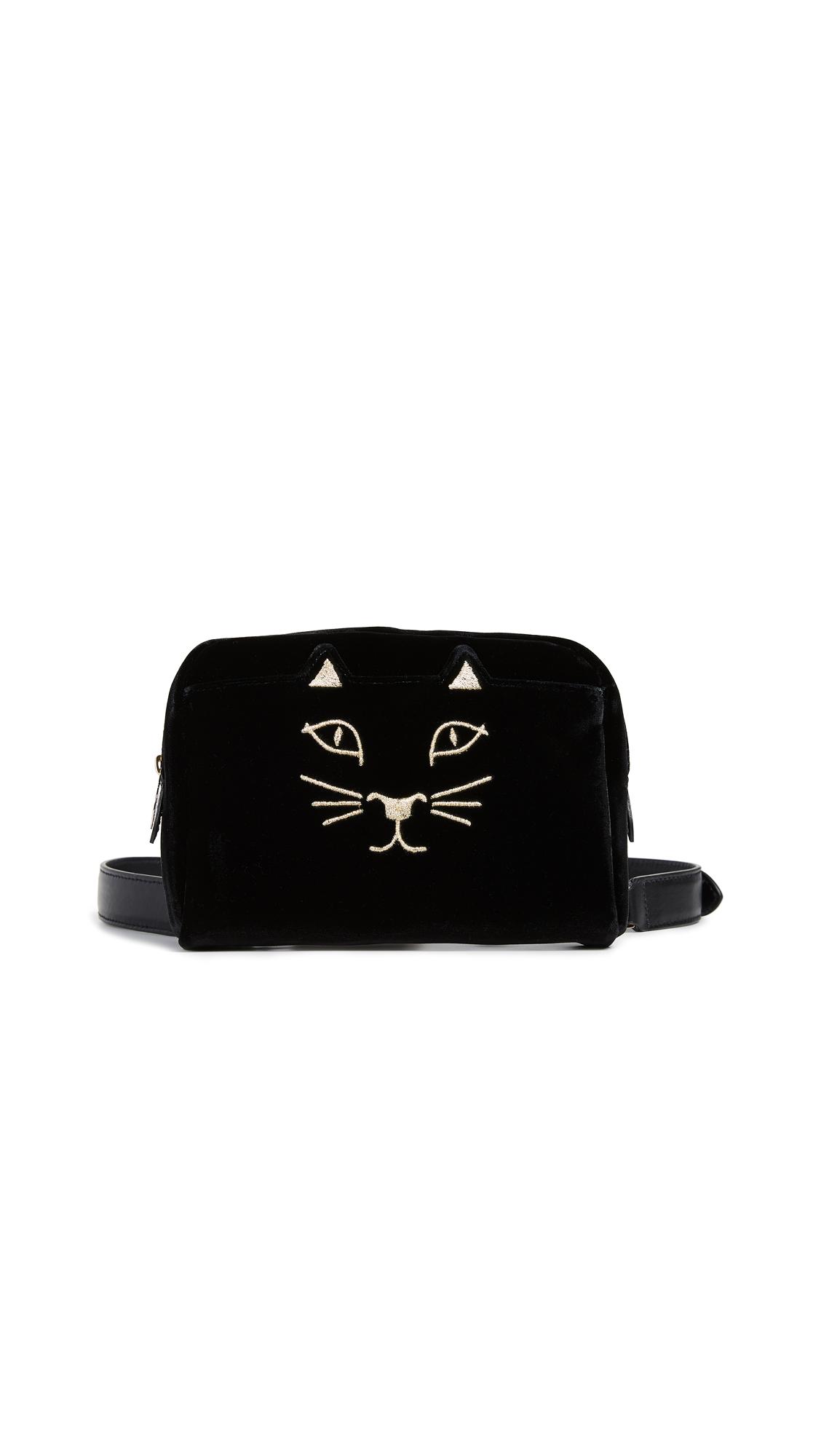 Charlotte Olympia Velvet Kitty Belt Bag - Black