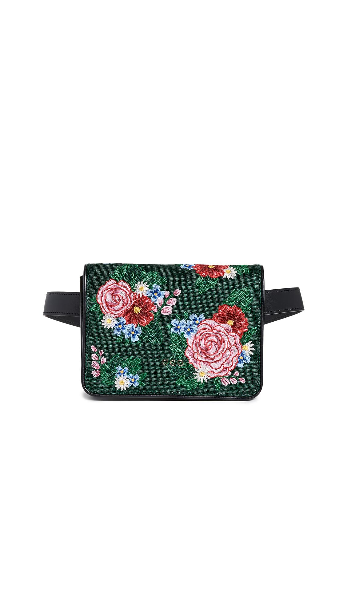 Charlotte Olympia Floral Belt Bag - Black/Red