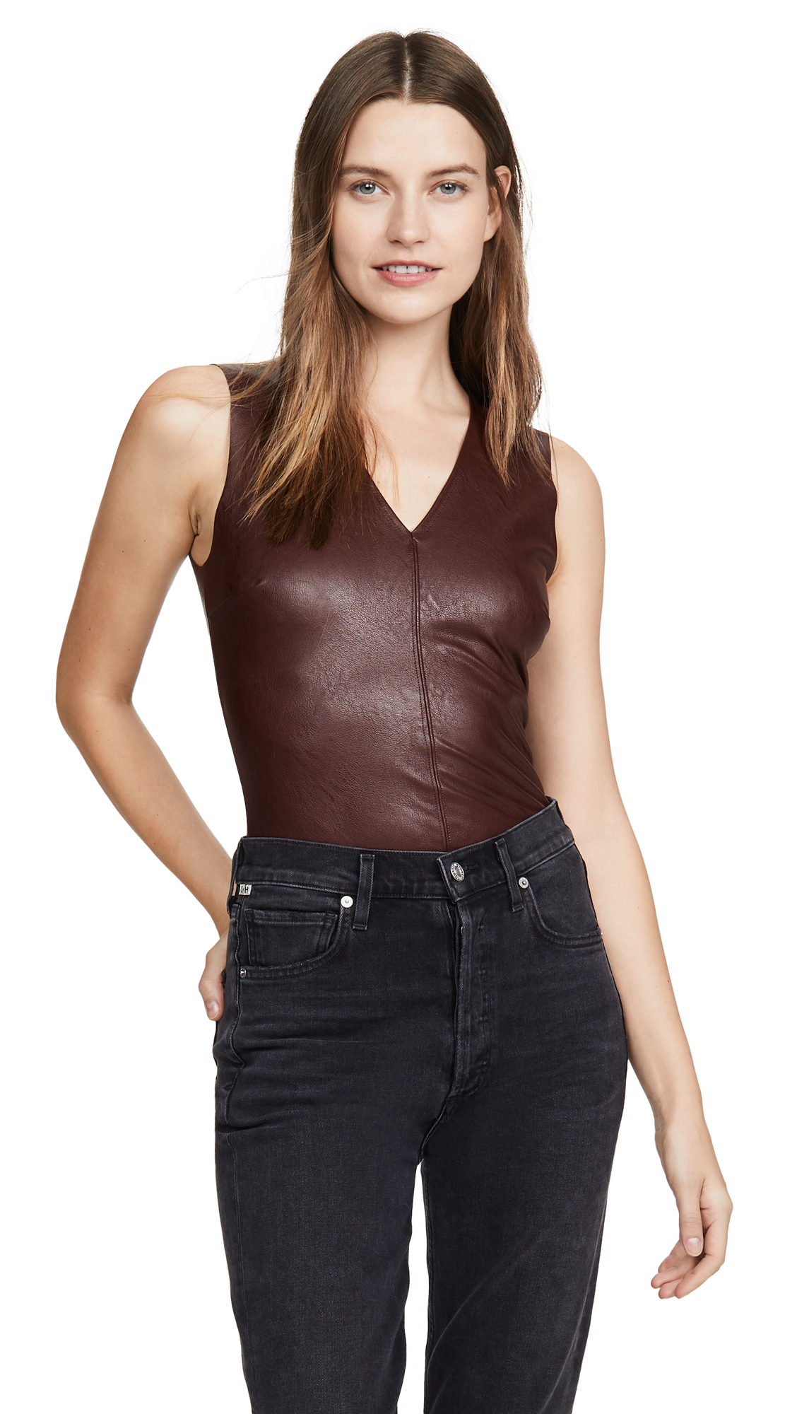 Buy Commando online - photo of Commando Faux Leather V Neck Bodysuit