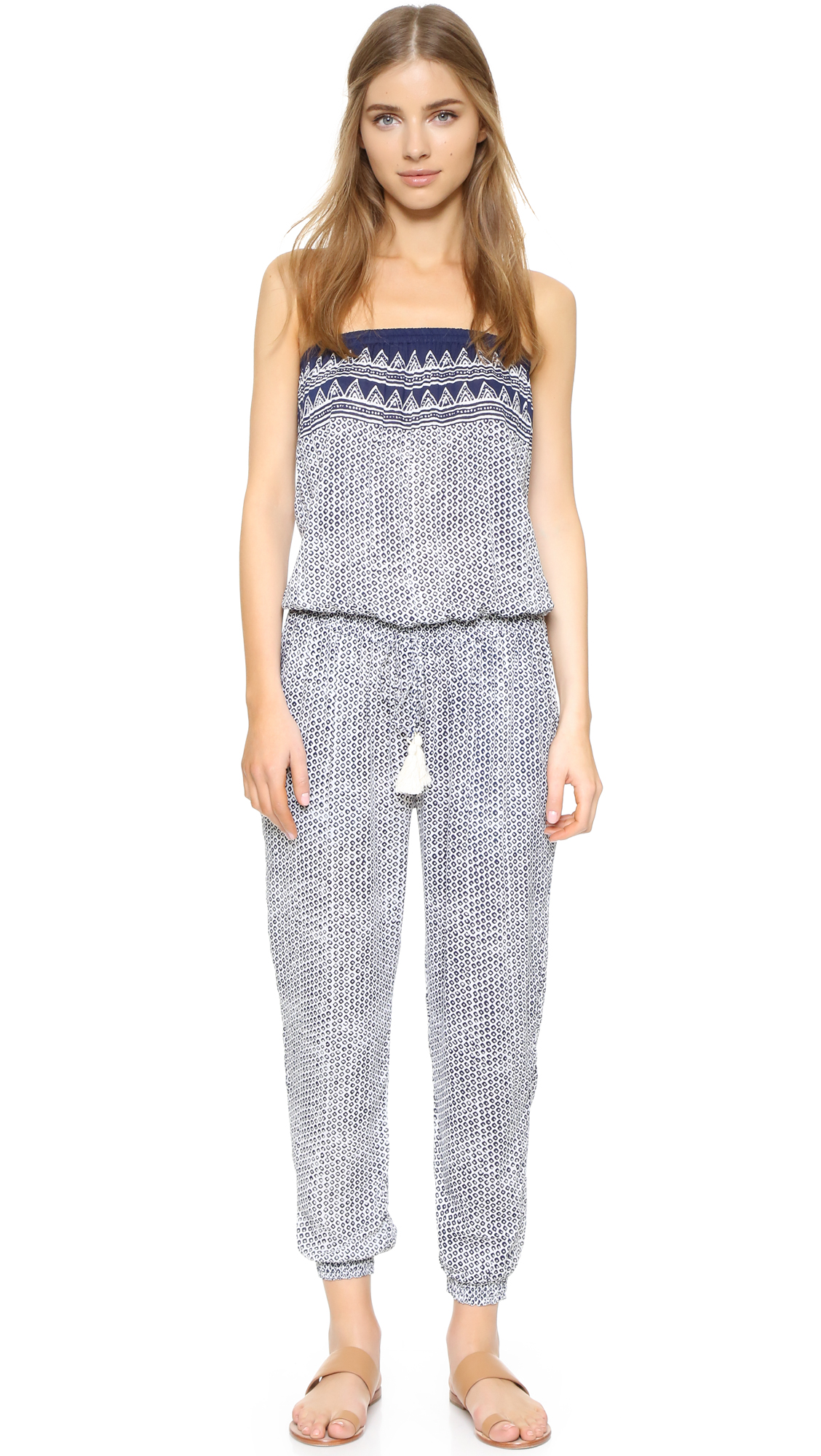 coolchange Brooke Jumpsuit - Indigo/White