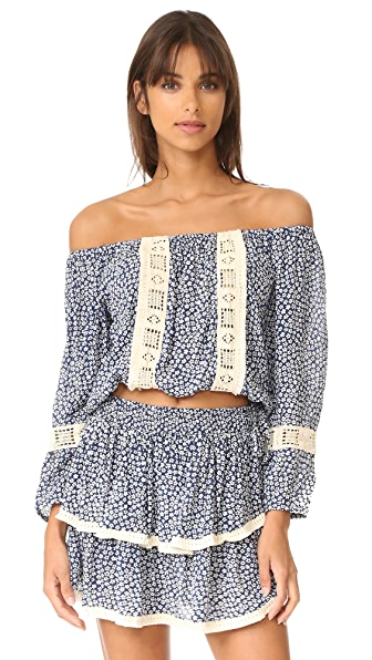 coolchange Skye Off Shoulder Crop Top - Nightfall