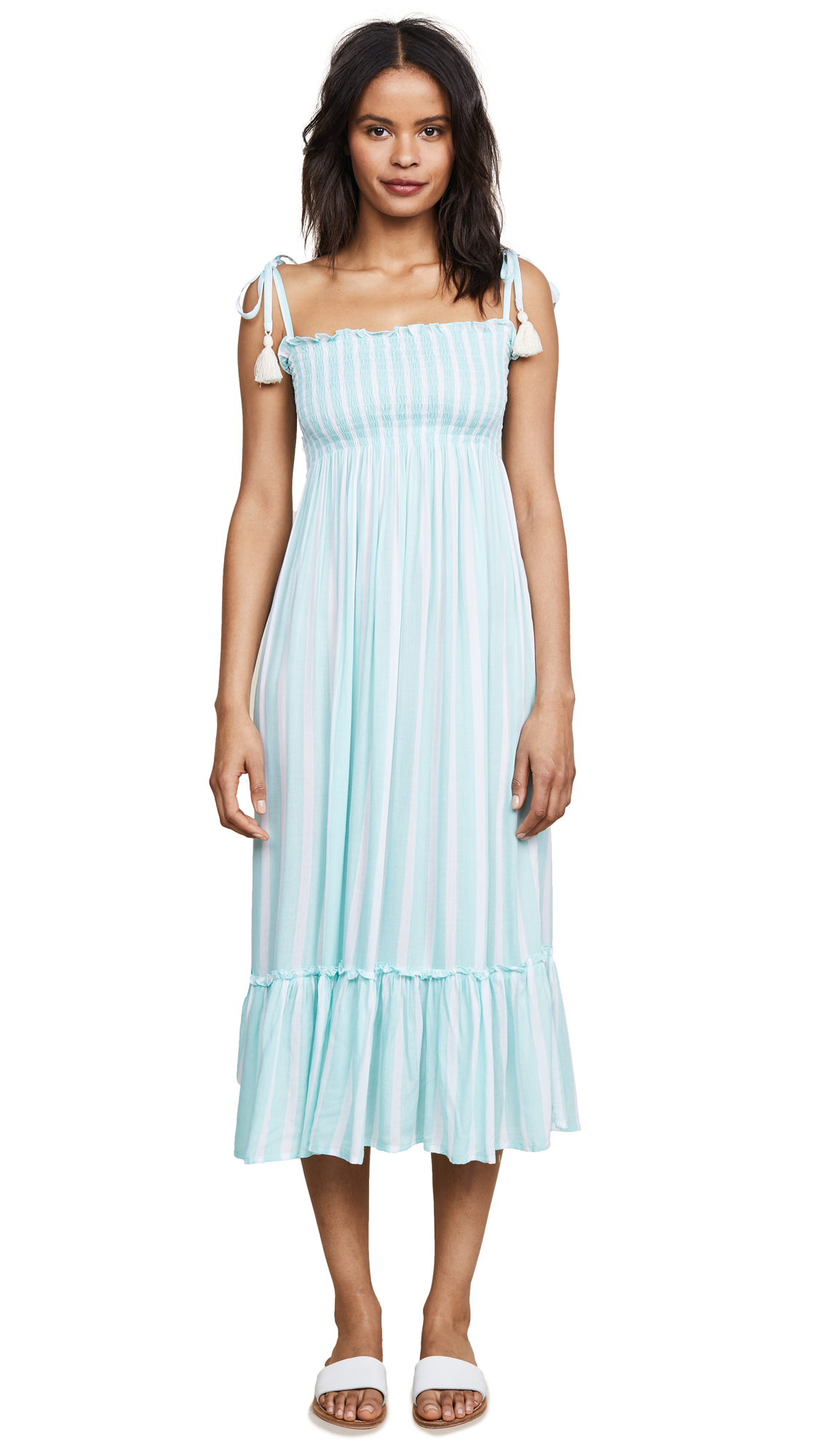 COOL CHANGE Piper Toiny Stripe Midi Dress in Clearwater/White