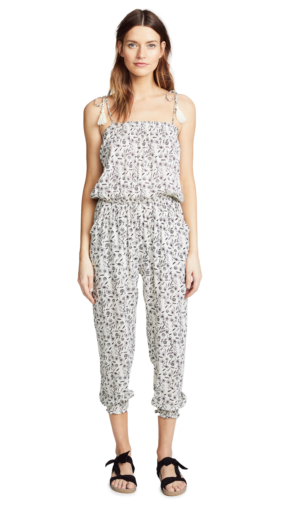 coolchange Serafina Jumpsuit In Marguerite Cream/Black