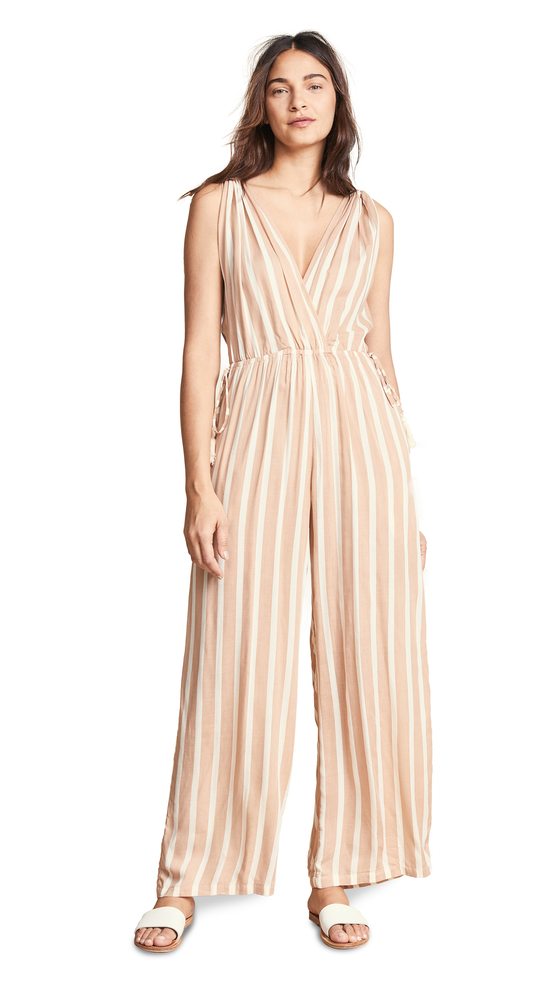 COOL CHANGE Taryn Toiny Stripe Jumpsuit in Cafe