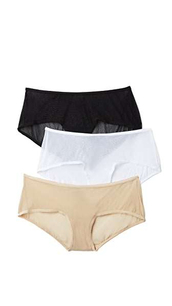 Cosabella Soire Boyshorts 3 Pack In Black/White/Blush