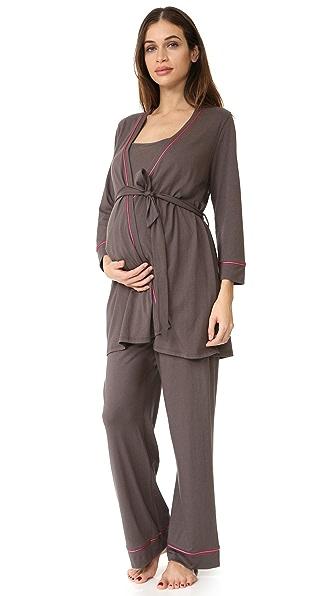 Cosabella Bella Maternity PJ Set - Smoky Grey/Hot Pink