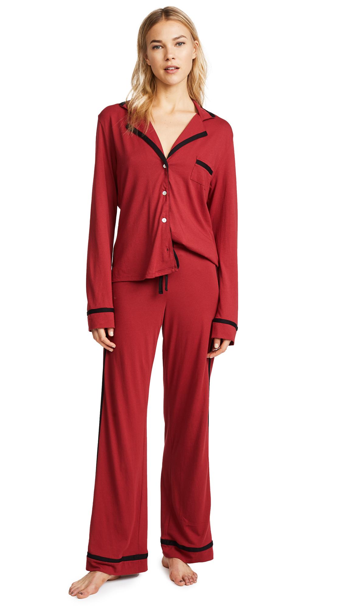 Cosabella Bella Long PJ Set In Brick Red/Black