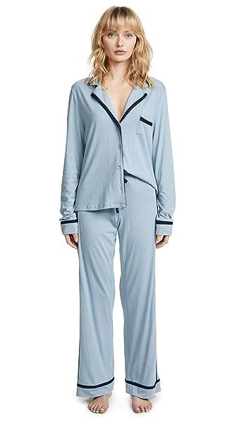 Cosabella Bella Longsleeve Top & Pant PJ Set In Bathe Blue