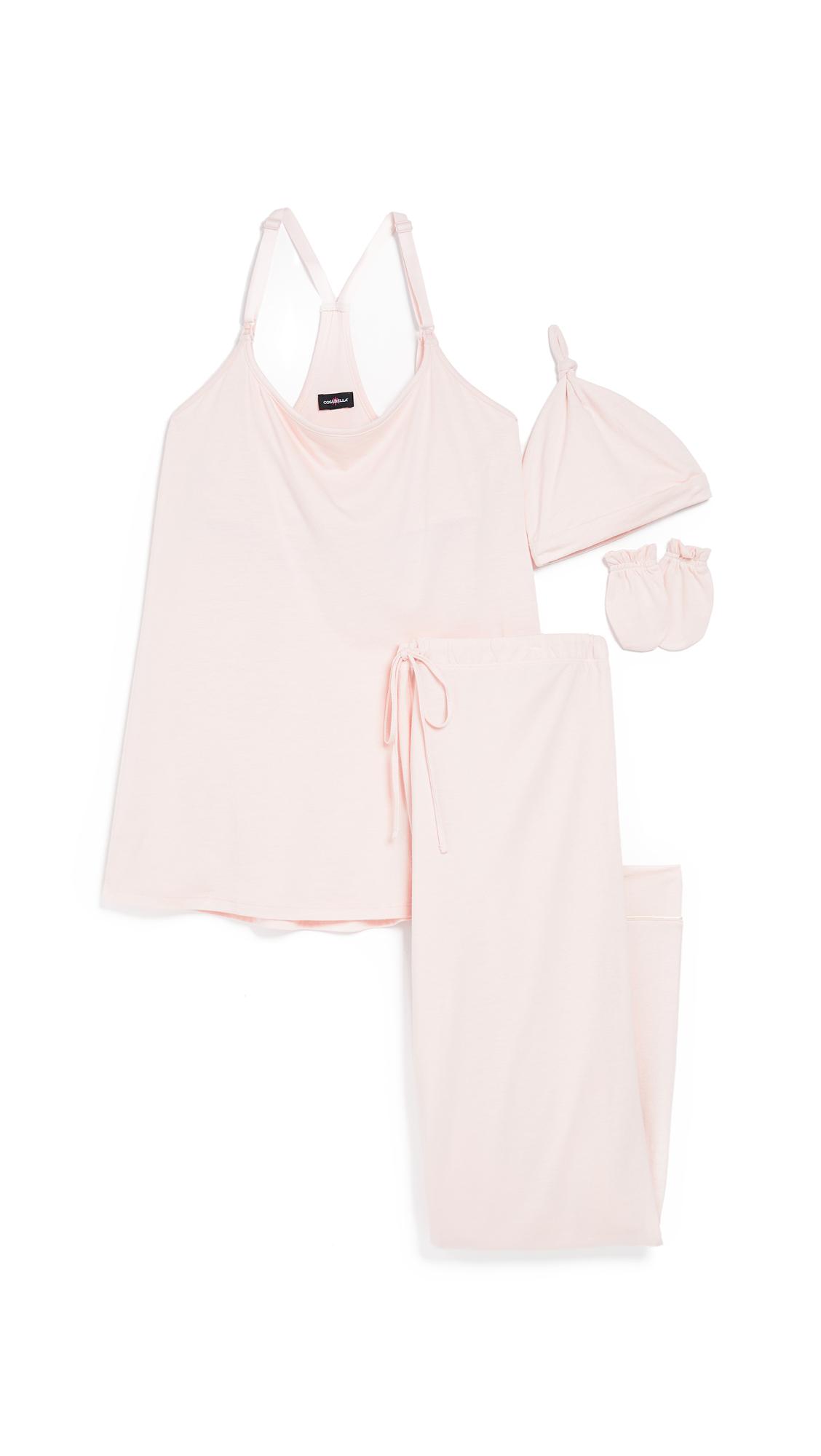 Bella Maternity Pj Set Gifting Package, Rose Dawn/Moon Ivory