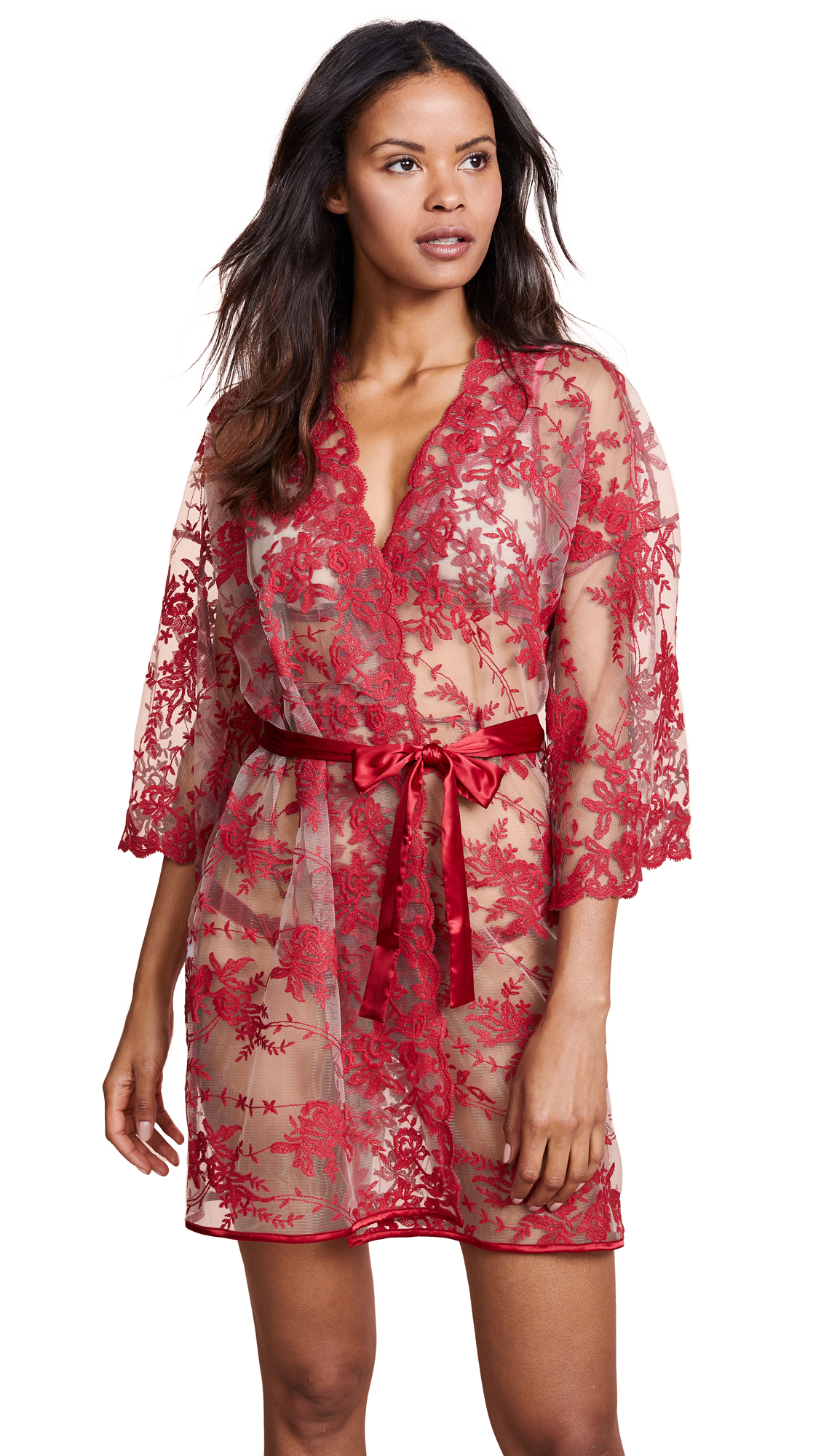 Rosie Velvet Trimmed Robe in Mystic Red