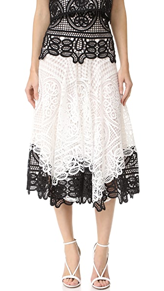 Costarellos High Waist Contrast Skirt