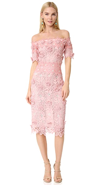 Costarellos Off the Shoulder Dress - Pink