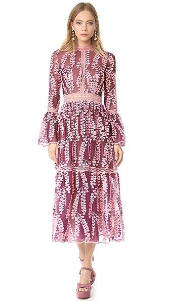 Costarellos Платье из кружева и тюля с расклешенными рукавами