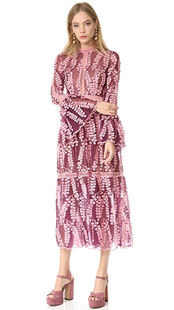 Costarellos Tulle Lace Dress with Bell Sleeves