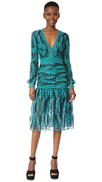 Costarellos V Neck Mermaid Midi Dress - Teal Green