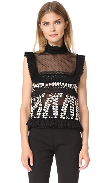 Costarellos Sleeveless Embroidered Top - Black
