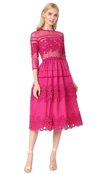 Costarellos Mid Ball Dot Dress