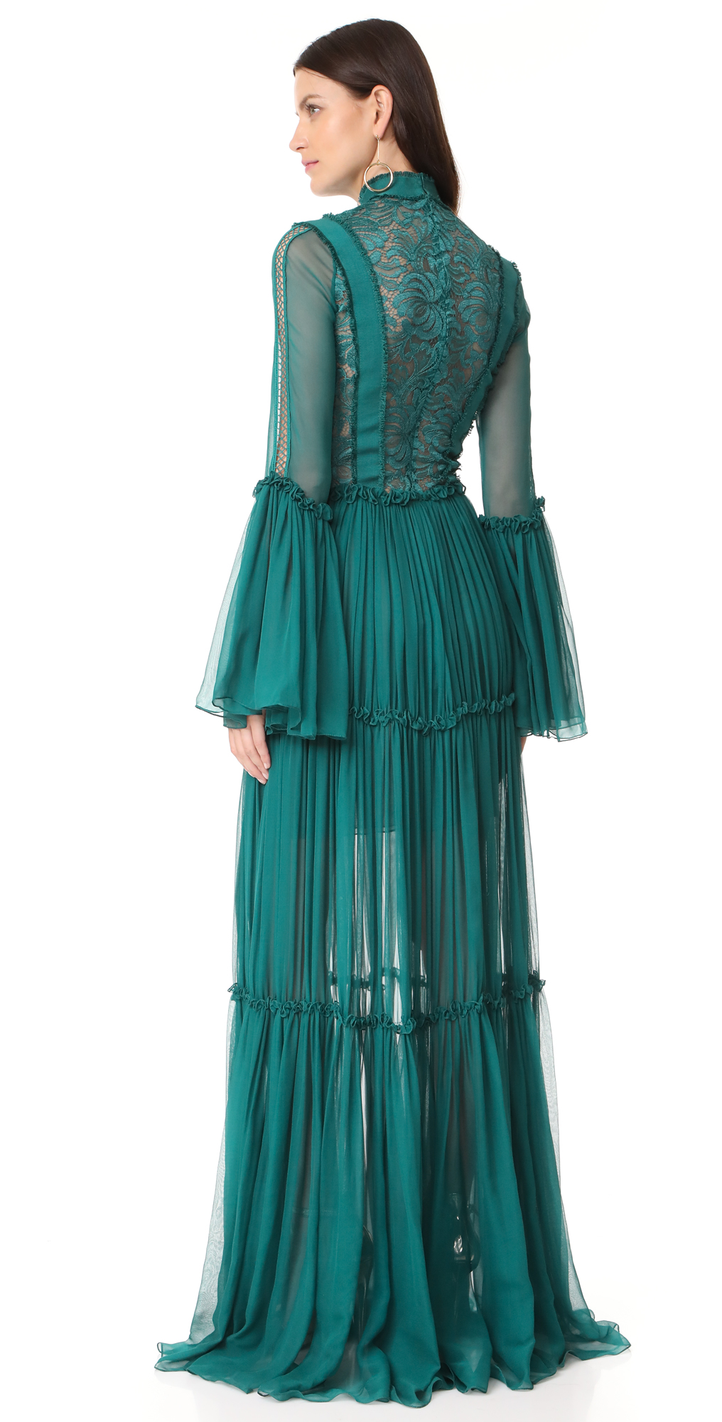 Costarellos Long Chiffon Dress with Bell Sleeves | SHOPBOP