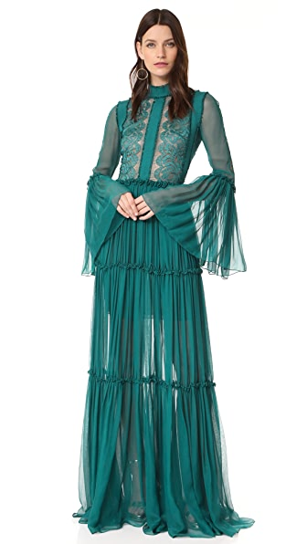 Costarellos Long Chiffon Dress with Bell Sleeves