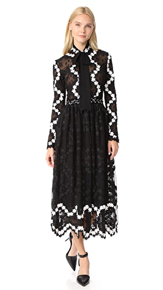 Costarellos Collared Midi Dress In Black/White