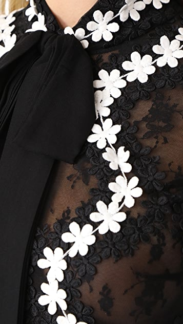 Costarellos Tie Neck Midi Dress