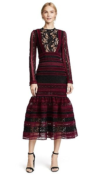 Costarellos Midi Dress In Black/Garnet Red