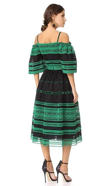 Costarellos Ruffled Midi Dress