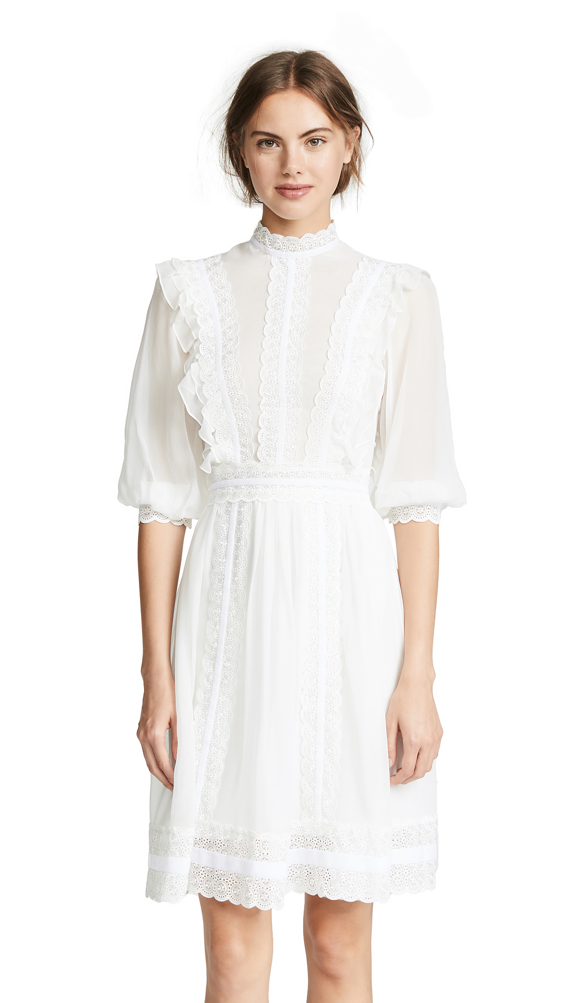 COSTARELLOS Mock Neck Bishop Sleeve Dress in White