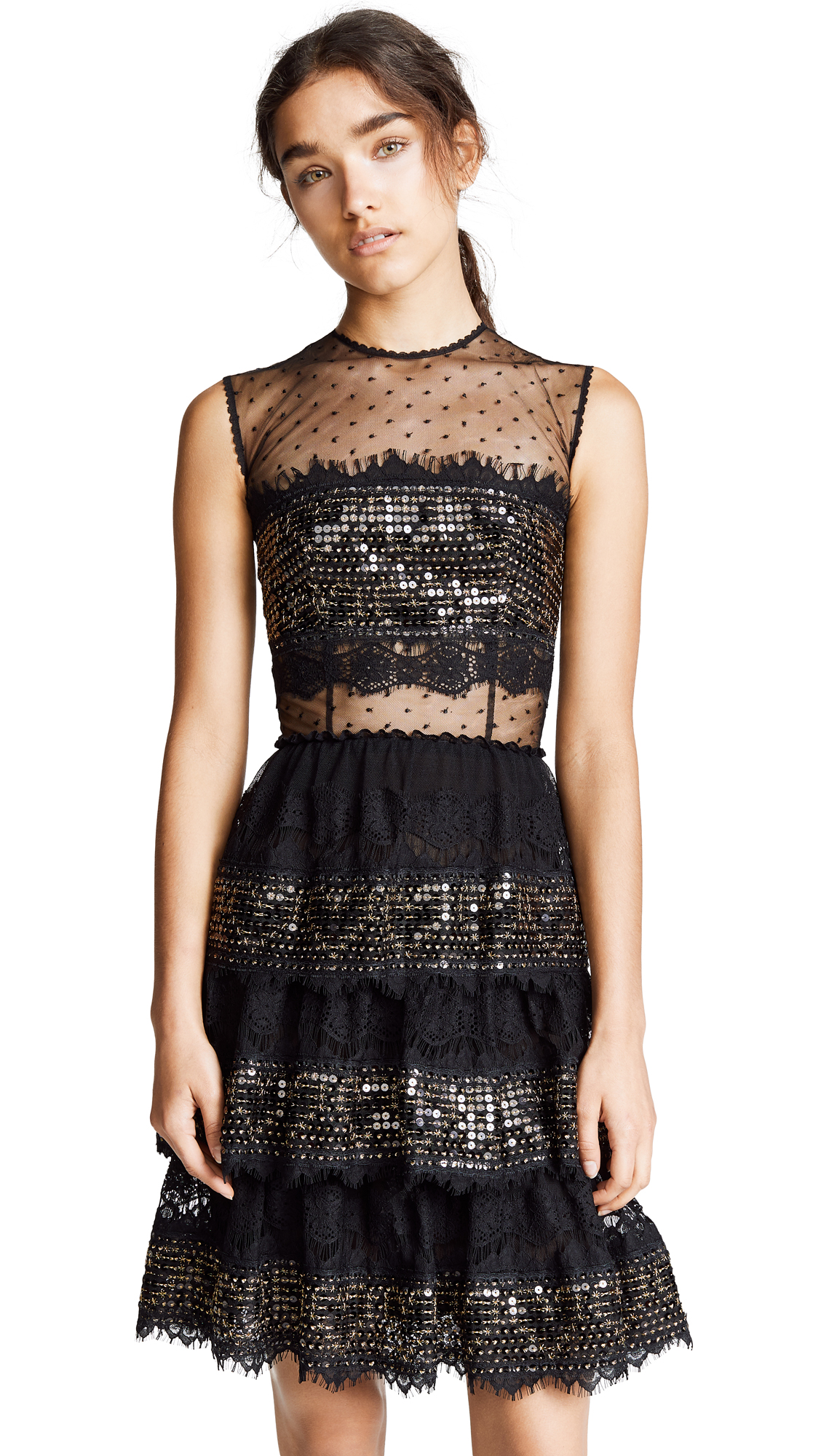 COSTARELLOS Long Layered Dress With Sequin Panels in Black/Gold