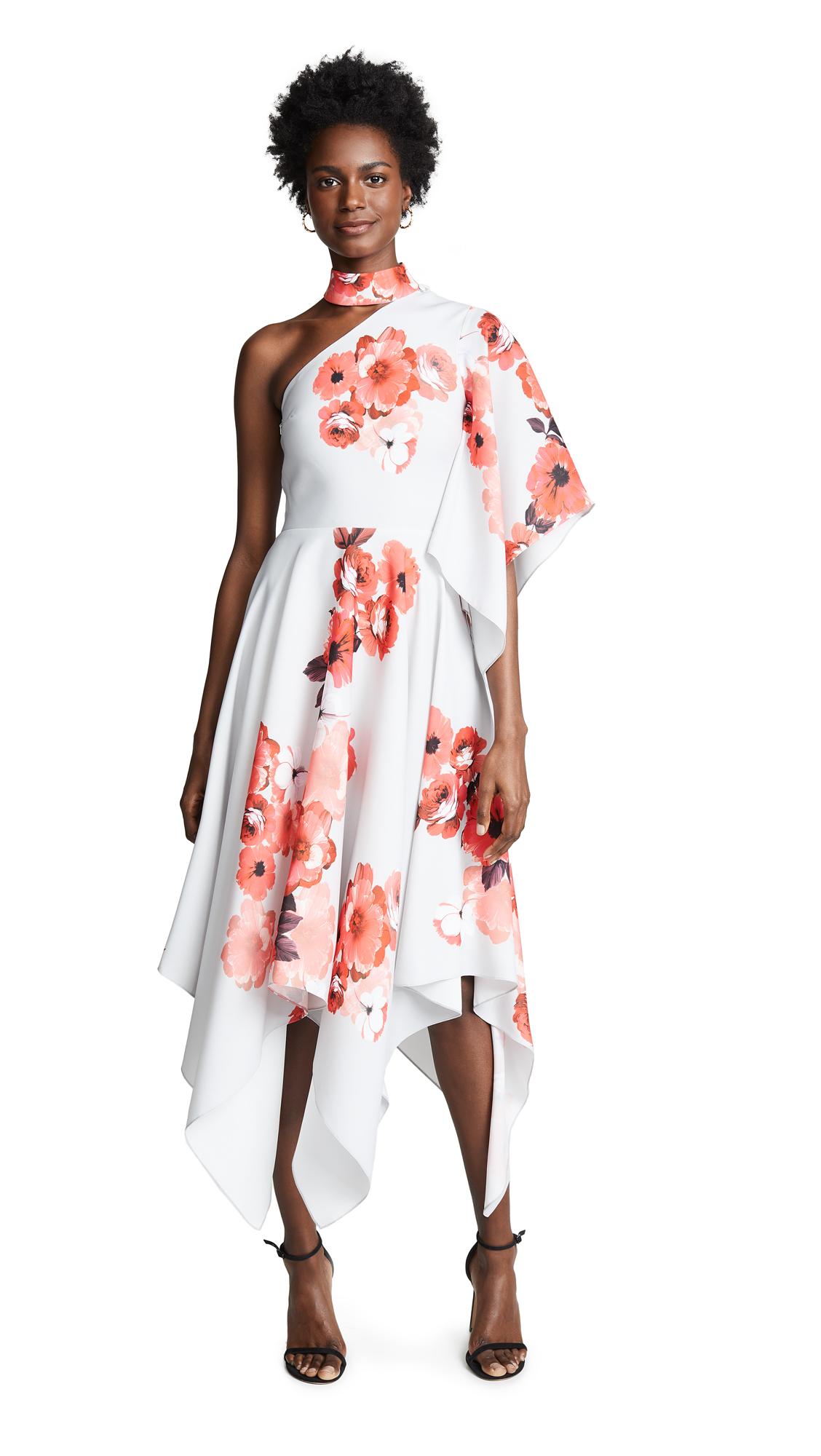 Costarellos One Shoulder Asymmetric Dress - Grey/Coral