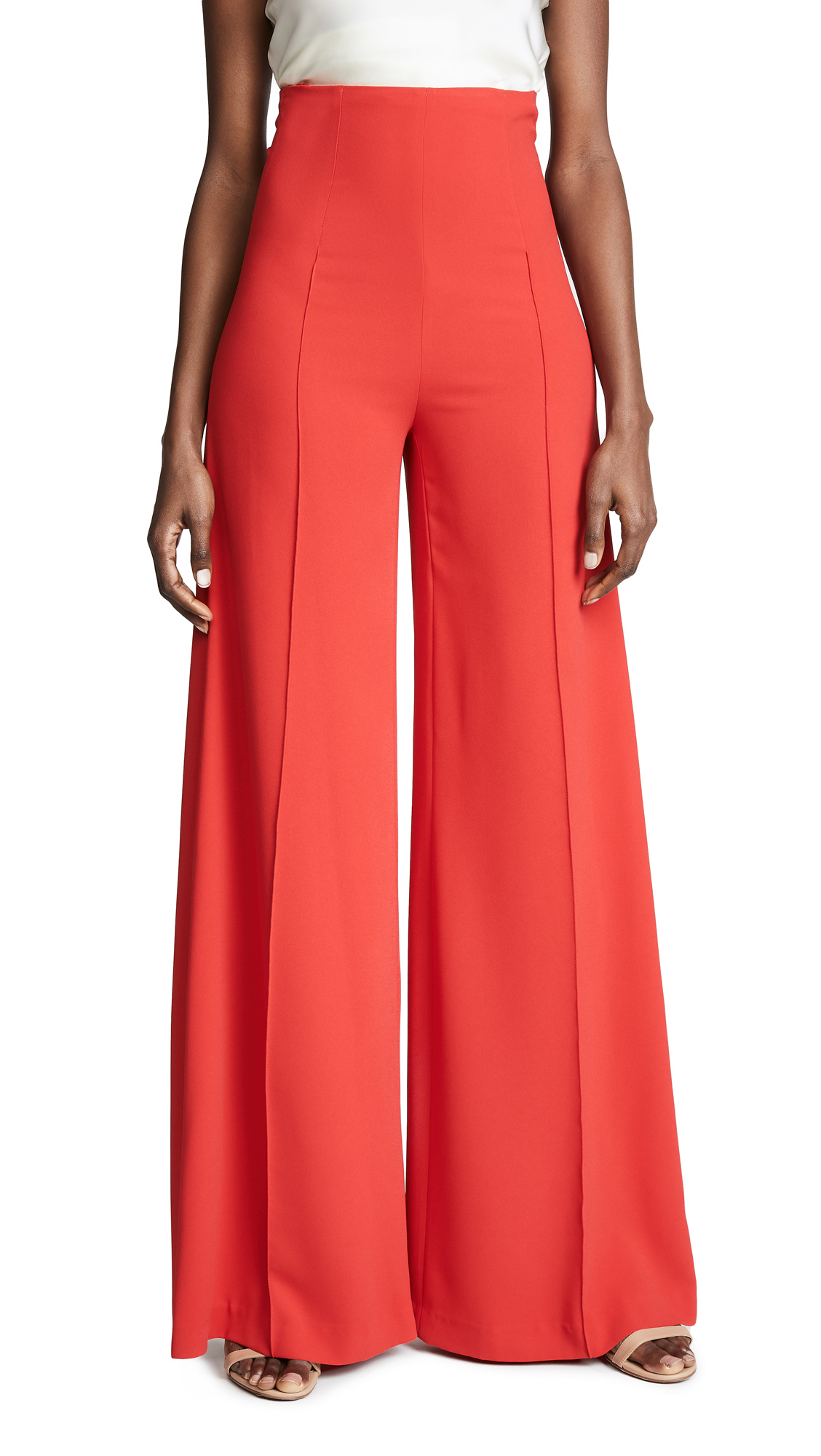 COSTARELLOS High Waist Wide Leg Trousers in Red