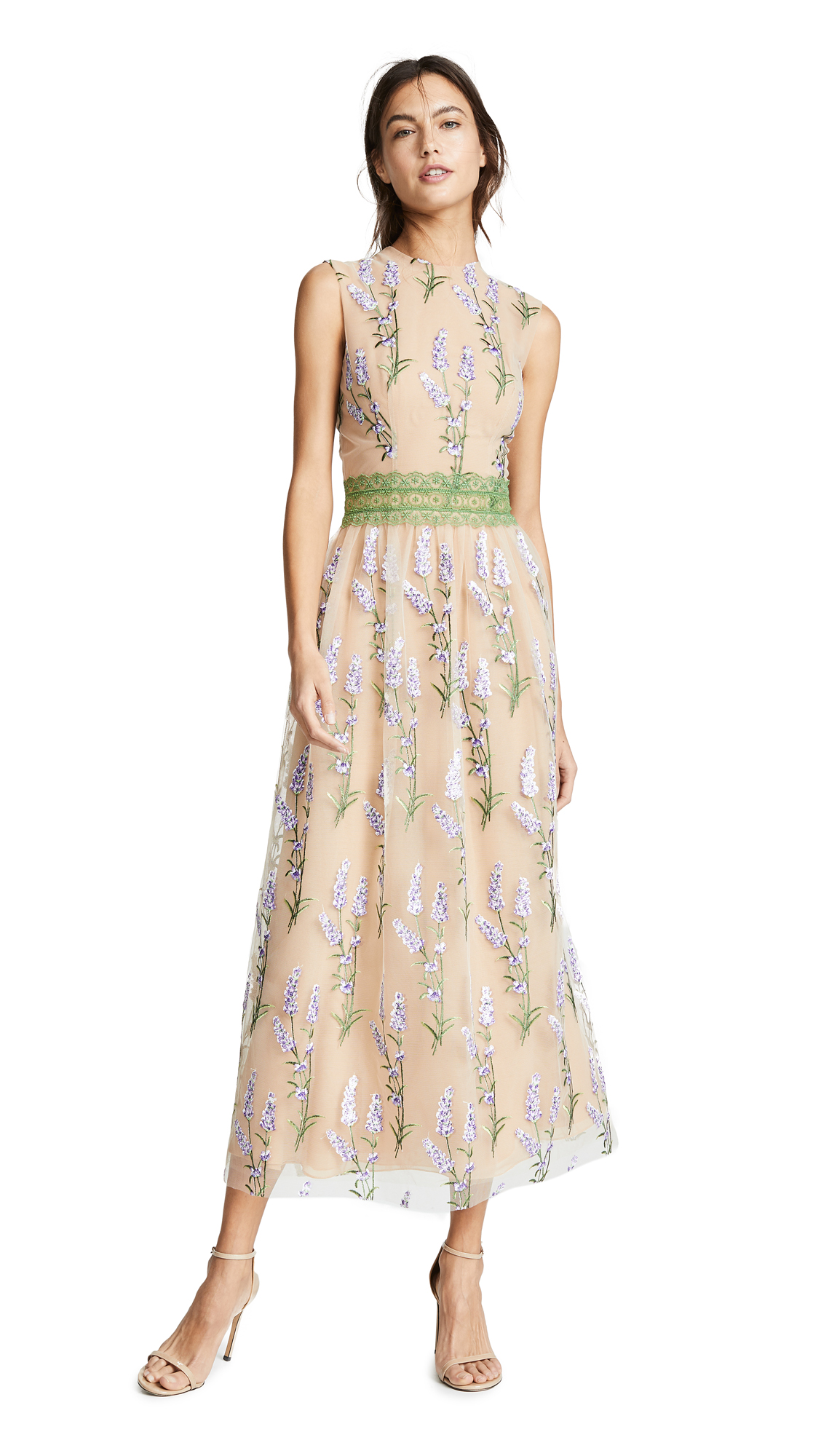 COSTARELLOS Sleeveless Embroidered Sequin Tulle And Lace Trim Dress in Blush Multi