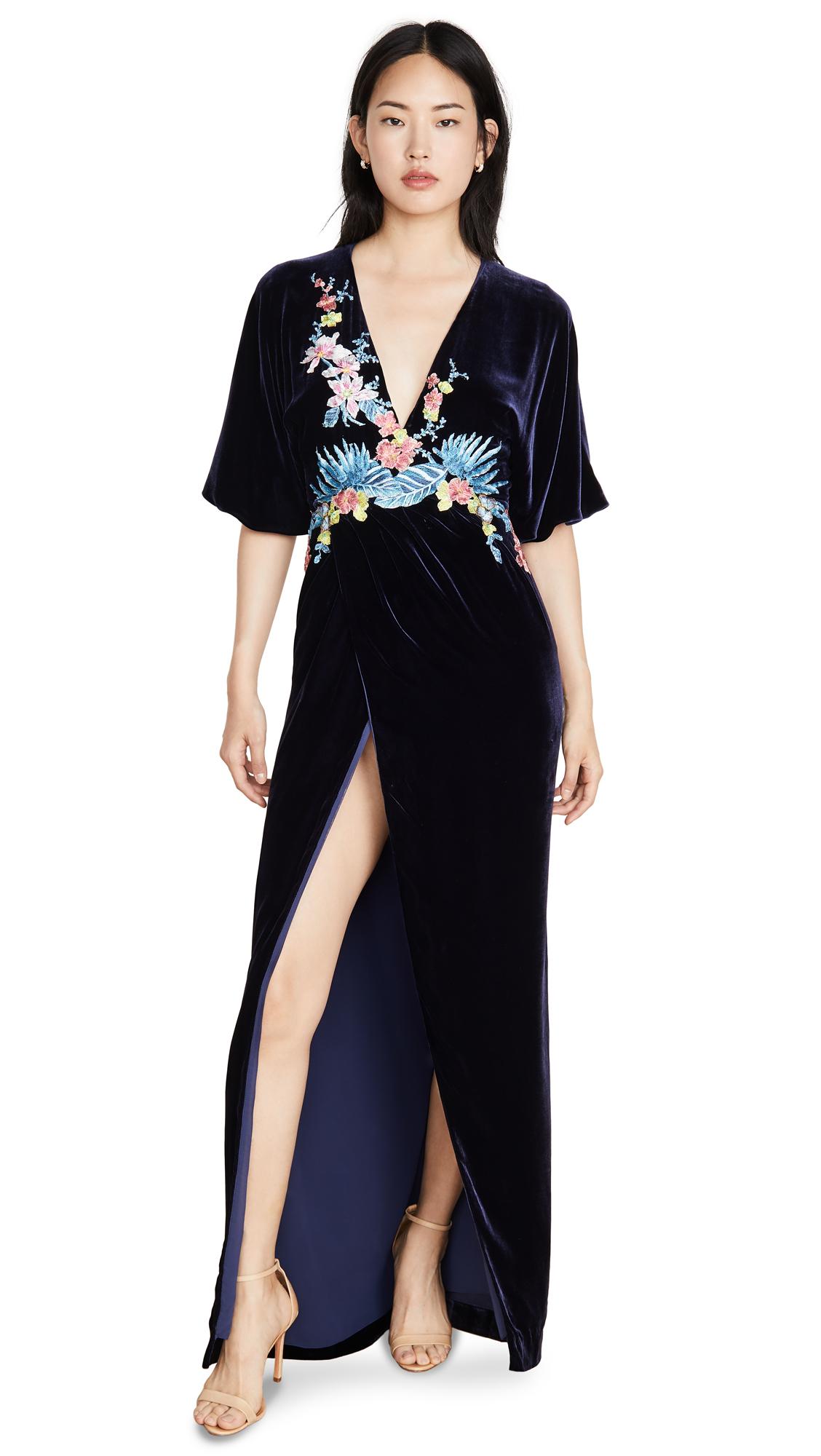Buy Costarellos online - photo of Costarellos Silk Velvet Plunge Wrap Front Dress