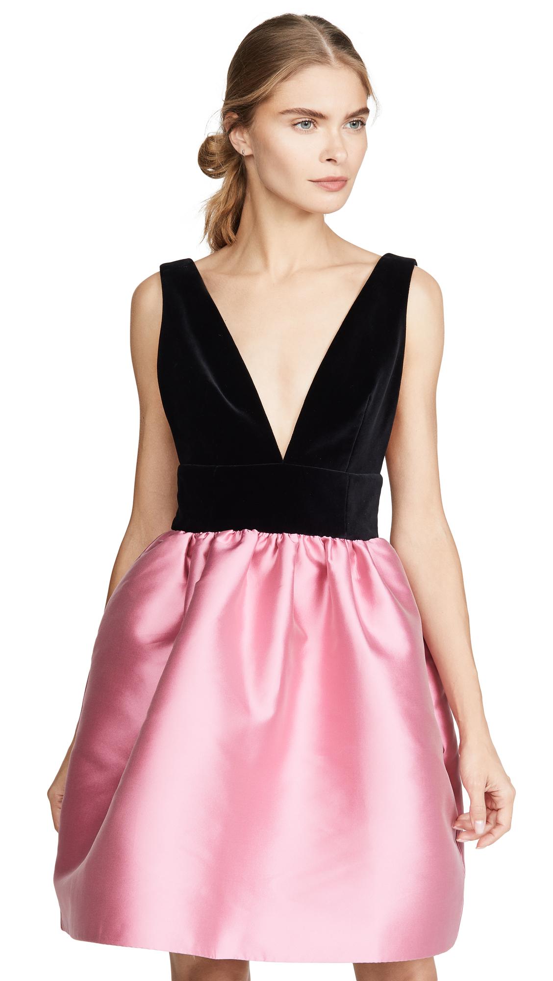 Buy Costarellos online - photo of Costarellos Silk Dress with Velvet Plunge Bodice