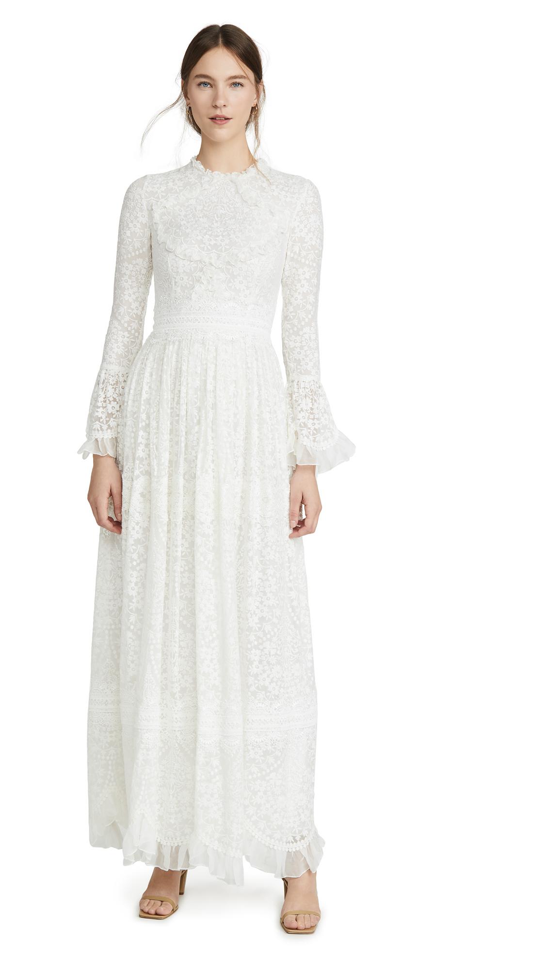 Buy Costarellos Flounce Sleeve Ruffled Edge Embroidered Silk Dress online beautiful Costarellos Dresses, Strapless