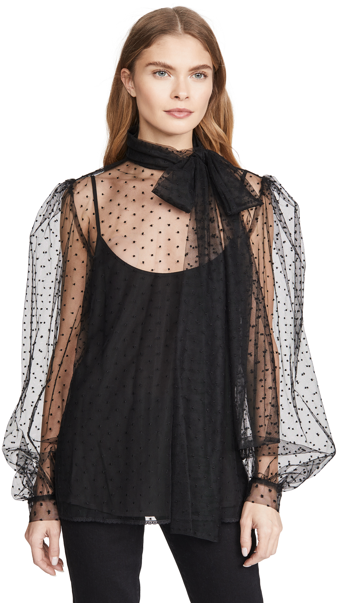 Buy Costarellos online - photo of Costarellos Bishop Sleeve Embroidered Dot Tulle Blouse