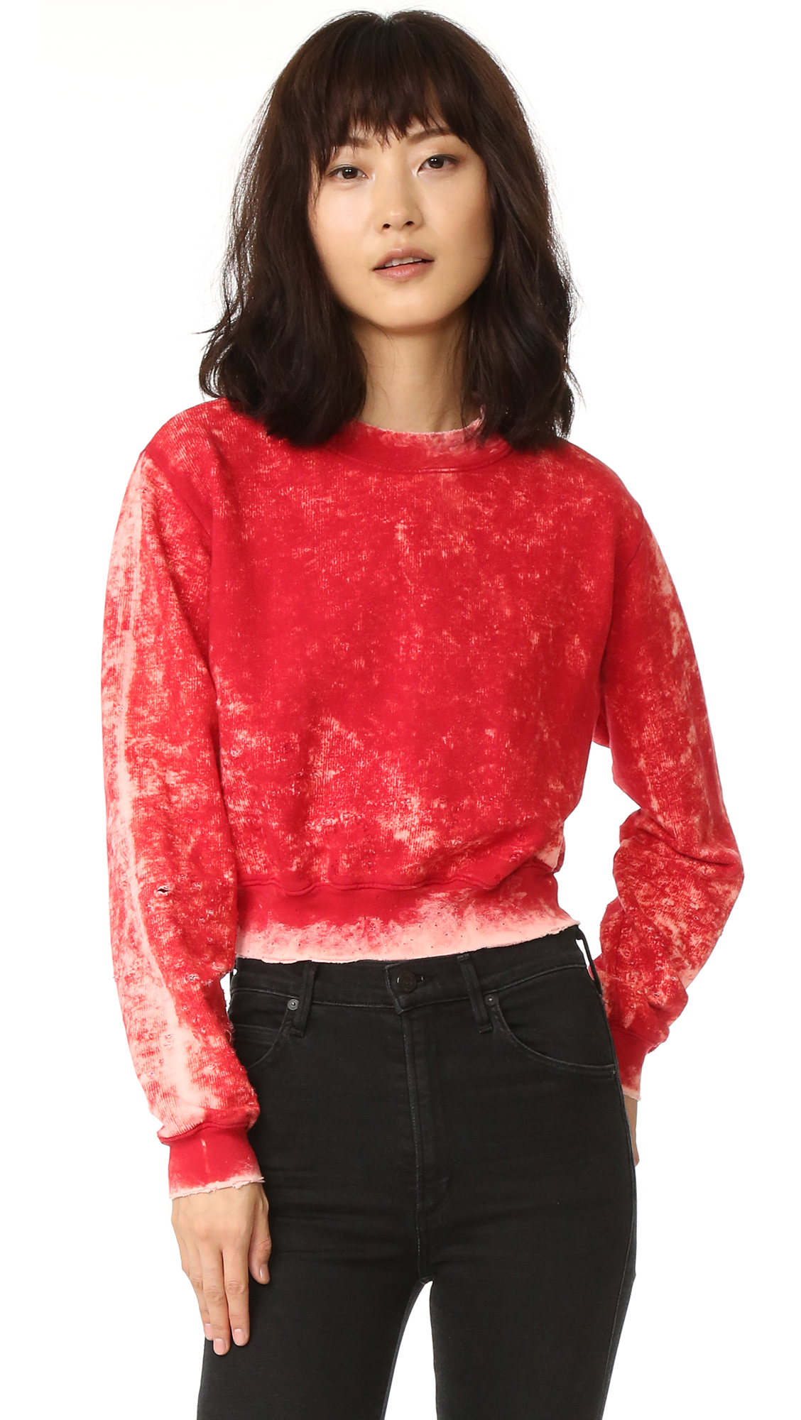 Fading and distressing gives this Cotton Citizen sweatshirt a vintage feel. Crew neckline. Long sleeves. Fabric: French terry. 100% cotton. Wash cold. Made in the USA. Measurements Length: 19in / 48cm, from shoulder Measurements from size S. Available