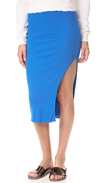 Cotton Citizen The Melbourne Ribbed Midi Skirt In Electric